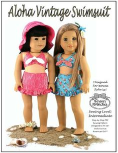 Forever 18 Inches Aloha Vintage Swimsuit Doll Clothes Pattern 18 inch American Girl Dolls | Pixie Faire