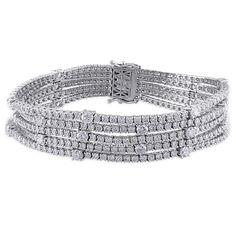 Miadora Signature Collection 18k Gold 13 1/8ct TDW Diamond Bracelet