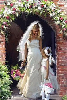 Trademark Global The Macneil Studio 'Bride and Bridesmaid' Canvas Art - 30 x 47 Wedding Art, Wedding Images, Wedding Doll, Creation Photo, Brides And Bridesmaids, Beautiful Paintings, Marie, Portraits, Wedding Dresses