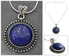India Jewelry Sterling Silver and Lapis Lazuli Necklace - Sky Over Varkala | NOVICA