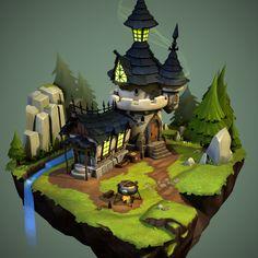 ArtStation - Castle, Vu Phan by IamSegs Environment Concept Art, Environment Design, Game Environment, Zbrush, Game Design, Cartoon House, Isometric Art, Hand Painted Textures, Building Concept