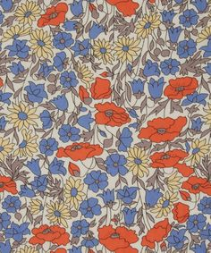 "The ""Poppy and Daisy"" pattern, one of the iconic Liberty designs featured in The Liberty Colouring Book. Textile Patterns, Textile Prints, Textiles, Print Patterns, Floral Prints, Floral Patterns, Pattern Print, Liberty Art Fabrics, Liberty Print"