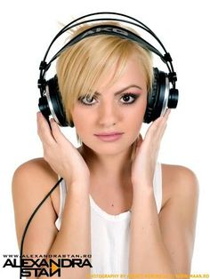 She is awesomee girl blonde beauty singer headphones pretty cool sweet cute