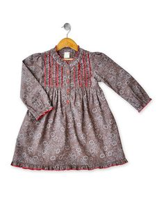 Take a look at this Brown & Red Fleur Dress - Girls by Eternal Creation on #zulily today!
