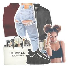 """Lowkey Lit."" by s0-childish ❤ liked on Polyvore featuring WearAll, Sans Souci, Chanel and adidas Originals"