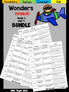 This 3rd grade Vocabulary Routine is aligned toMcGraw Hill Wonders for Grade 3, Unit 4 (Weeks 1-5) It contains all vocabulary words, definitions, examples, and a question for students to respond.This is a great way to reinforce weekly vocabulary words for homework or during independent centers.