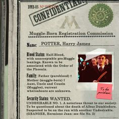 Harry James Potter, status: Wanted