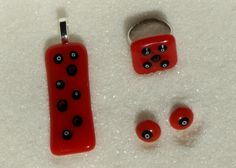 Fused glass Jewelry set, Red Jewelry: ring, pendant, earrings - Handmade
