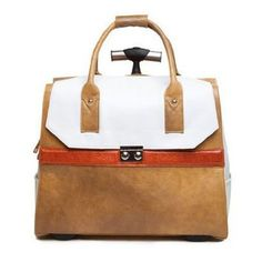 Hang Accessories Brown Orange Reptile Ivory Color Block Rolling Trolley Bag
