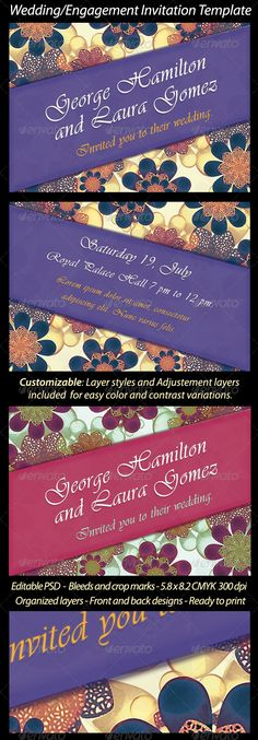 Wedding/Engagement Invitation Template - Weddings Card Invitation Template PSD. Download here: http://graphicriver.net/item/weddingengagement-invitation-template/5992320?s_rank=109&ref=yinkira