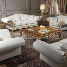Salotto Imperial in pelle bianca | Vimercati Classic Furniture