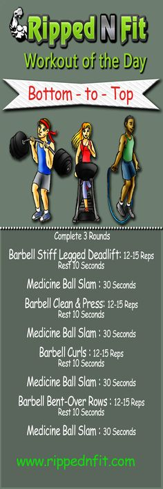 Workout of the Day: Bottom to the Top This full body routine will leave you breathless! #rippednfit