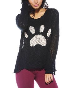 Another great find on #zulily! Black & White Paw Sweater by AX Paris #zulilyfinds