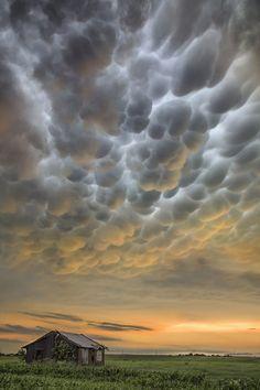 Gorgeous mammatus clouds over Weir, Texas