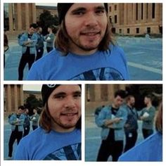Dan in the background lol. But omg Woody needs to wear more beanies! super attractive