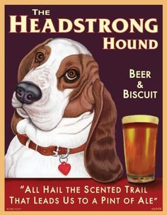 Retro Pets - Basset Hound Art - Headstrong Basset - Beer & Biscuit - 8x10 Art Print from the Pub Pups Series - Ready to Frame by Retro Pets, http://www.amazon.com/dp/B006JRJCLG/ref=cm_sw_r_pi_dp_VTpsrb04Y6AS3