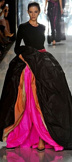 Chado Ralph Rucci S/S 2013 this is how to showcase a gown..dramatic lining multi-color elegant fabrics fabulous!