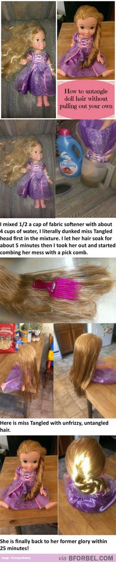 nice Life Hack- How To Untangle A Doll& Hair Without Pulling Out Your Own& Fix Doll Hair, American Girl, Best Hacks, Activities For Kids, Crafts For Kids, Hair Fixing, Hygiene, Barbie Dolls, Barbie Hair