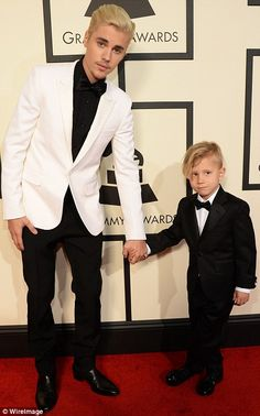 Too cute: Justin Bieber brought his six-year-old little brother Jaxon as his plus one for the event