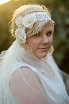 romantic bridal headpiece + hydrangea clusters + chantilly lace + swarovski crystals + country wedding + spring bride + bridal hair
