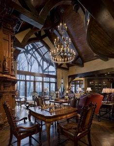 Huge windows with many interlacing will become a decoration of the house in the Gothic style Gothic Castle, Gothic House, Gothic Interior, Luxury Homes Interior, Victorian Interiors, Victorian Homes, Style At Home, Castle Rooms, Cosy Room