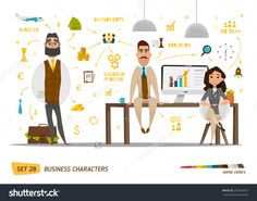 Business Characters Set .Group People In Office Stock Vector Illustration 376340923 : Shutterstock