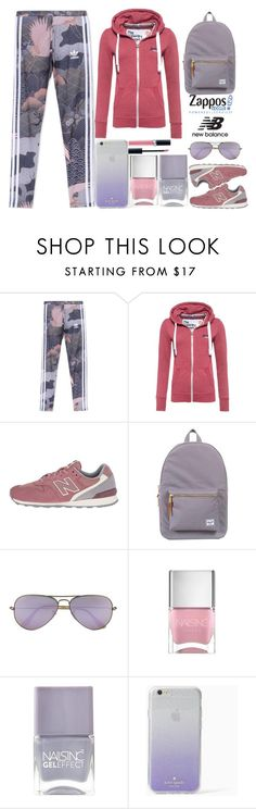 """""""Run the World in New Balance"""" by juliehalloran ❤ liked on Polyvore featuring adidas Originals, Superdry, New Balance Classics, Herschel Supply Co., Ray-Ban, Nails Inc., Kate Spade, Christian Dior and NewBalance"""