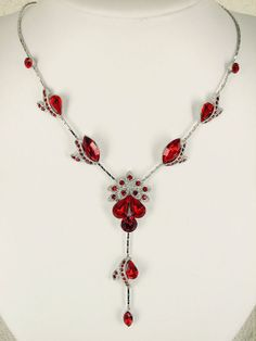 Gorgeous red crystals necklace & earrings set for bridal bridesmaid wedding party  H40
