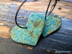 Heart Patina Copper Earrings