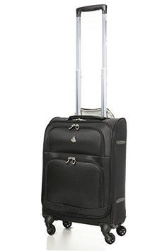 "Aerolite Lightweight Upright Travel Trolley Bags Carry On Luggage Suitcase 4 Wheel Spinner 22x14x9"" Approved for Delta South West American Airlines Black"