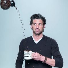 Actor Patrick Dempsey's Coffee Talk at Bon Appetit - I'm amused by this photo, not because of the mug, not because I think Patrick Dempsey is hot (or McDreamy), more because I still think of Patrick Dempsey as the pizza delivery guy. Coffee Talk, I Love Coffee, Hot Coffee, Coffee Drinks, Drinking Coffee, Sexy Coffee, Coffee Club, Coffee Break, Cheap Coffee