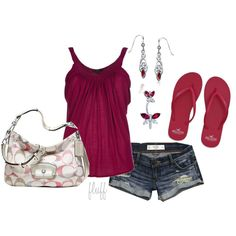 red summer, created by fluffof5 on Polyvore