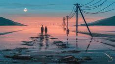 couple, Aenami, artwork, digital art, sunset | 1920x1080 Wallpaper - wallhaven.cc Lego Wallpaper, Sunset Wallpaper, Scenery Wallpaper, Macbook Wallpaper, Drones, Dark Pop, Cute Couple Art, Environment Concept Art, Environmental Art