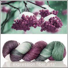 Expression Fiber Arts, Inc. - WINTER BERRIES 'LUSTER' SUPERWASH MERINO TENCEL SPORT yarn - deep berry plum, evergreen and ivory