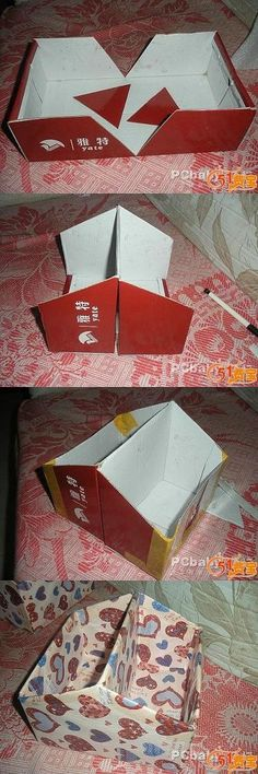 Clever Shoebox Upcycle via DIY and Craft Tutorials By cutting two parallel triangles into a shoebox and folding it in the centre, you can t...