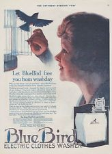 1920 BlueBird AD Clothes Washer Electric Home Appliance Free Women Antique A737