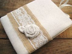 Rustic Wedding Guest Book  Muslin Burlap and Lace with Rose on Etsy, $35.95