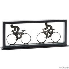 J-Line Abstract beeld figuur kader met 2 fietsers bruin 60 - Beelden - BCosy Webshop Boutique Web Vente en Ligne