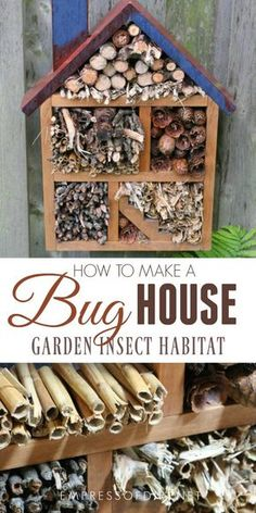 DIY Thrift shop bug house - make your own with a repurposed shelf and natural materials to attract beneficial insects to your garden. Garden Insects, Garden Bugs, Bugs And Insects, Bug Hotel, Ladybug House, Beneficial Insects, Eco Friendly House, Garden Projects, Garden Ideas