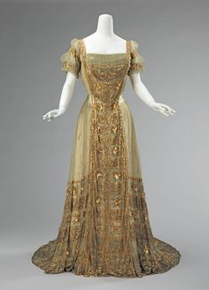 According to the Madame Guillotine website the dress is: Callot Soeurs, evening dress, 1911-14. (Don't know a thing about the author or her books other than ...
