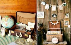 """Vintage Travel Wedding- suitcase """"guest book"""" with post cards to write a message on. Globes and map garland. Very cute!"""
