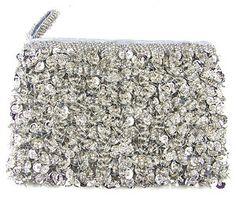 Erik Mike Beaded Sequin Coin Bag Purse Evening Silver ID Wallet | eBay