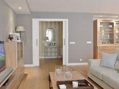 Grey Wood Tile, Home Living Room, Oversized Mirror, Sweet Home, Shabby, Furniture, Home Decor, Room Interior, Interior Design