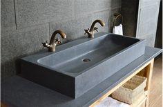£662 1000mm Double Trough Granite Stone Bathroom Sink - LOOAN