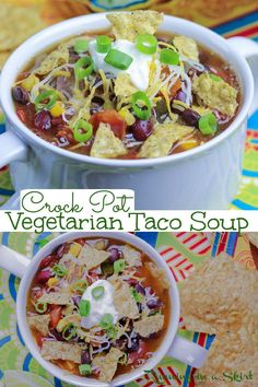Vegetarian Taco Soup Recipe - Crock Pot or Slow Cooker. Healthy and easy Vegetarian Soup recipe that you can dump and forget! Uses canned beans, tomatoes, peppers and onions. Leave the soup vegan or top with cheese, chips and sour cream. Looking for easy Crockpot recipes? This is it! / Running in a Skirt #tacosoup #vegetariancrockpot #slowcooker #vegan #healthyrecipe Creamy Soup Recipes, Best Soup Recipes, Best Breakfast Recipes, Healthy Soup Recipes, Vegetarian Recipes, Slow Cooker Pressure Cooker, Slow Cooker Soup, Slow Cooker Recipes, Crockpot Recipes