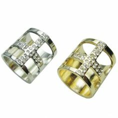 Unique Hollow Cross Shaped Full Rhinestone Alloy Rings for Party