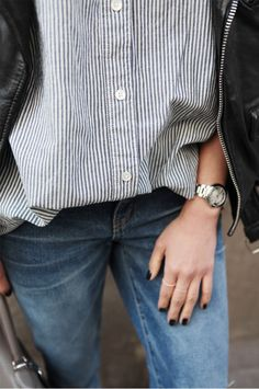 Leather, stripes and denim