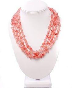 Amazon.com: Jikora Pink Cherry Quartz Collar Necklace: Jewelry