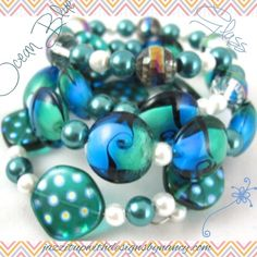 Ocean summer bracelet with blue green teal aqua mixed glass pearls and crystals @ntonelli #indiemade