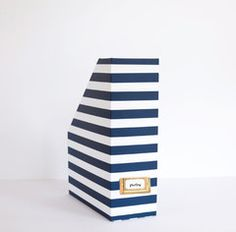 Magazine Box - Navy Stripe